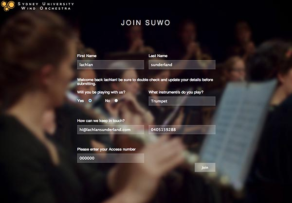 Sydney University Wind Orchestra O-Week Portal